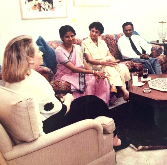 Dr. Neelan Tiruchelvam, MP with US First Lady Hillary Clinton - April 1995